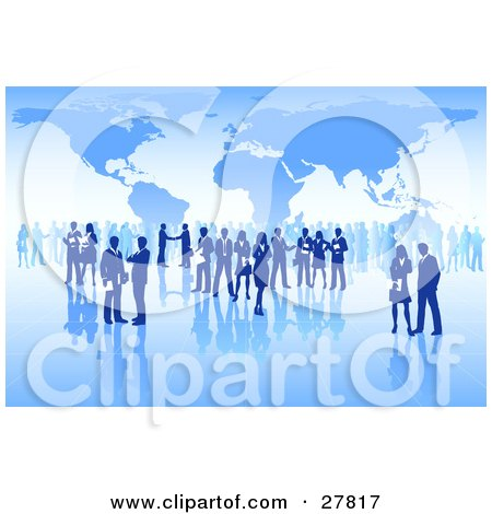 International Business People Conducting Business Over A Grid Surface With A Blue Map Background Posters, Art Prints
