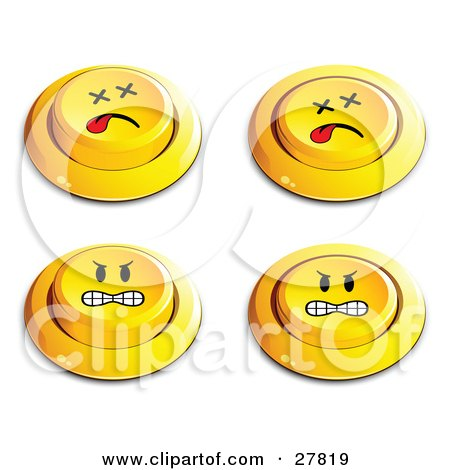 Clipart Illustration of a Set Of Four Yellow Push Buttons With Dead And Angry Faces by beboy