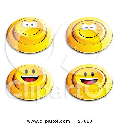 Clipart Illustration of a Set Of Four Yellow Push Buttons With Grinning And Happy Faces by beboy