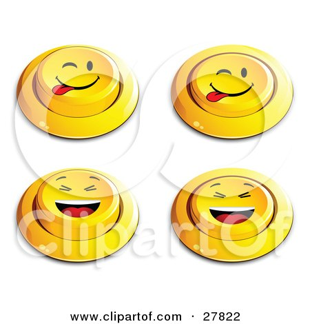 Clipart Illustration of a Set Of Four Yellow Push Buttons With Laughing And Teasing Faces by beboy