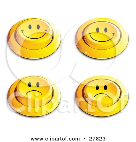 Clipart Illustration of a Set Of Four Yellow Push Buttons With Frowning And Smiling Faces by beboy