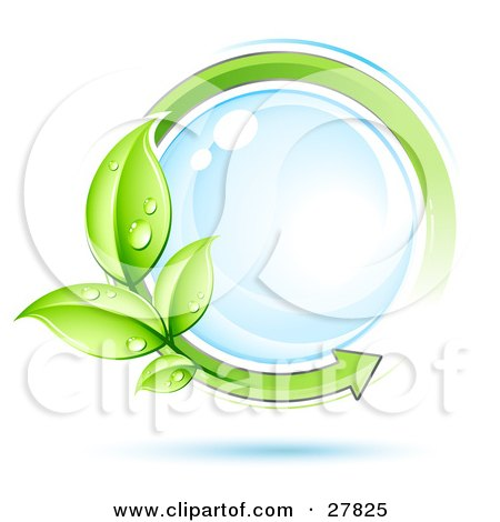 Clipart Illustration of a Reflective Blue Orb Circled By An Arrow And Dew Covered Leaves by beboy
