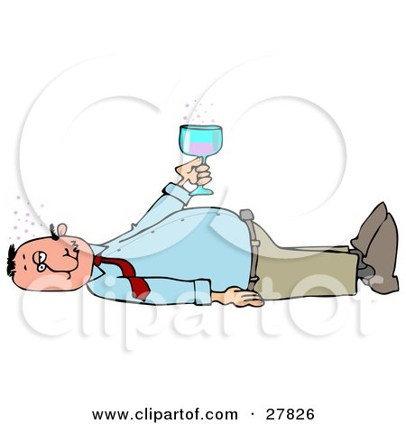 Clipart Illustration of a White Man Laying On His Back After Passing Out From Getting Too Drunk, Holding A Glass Of Alcohol Over His Belly by djart