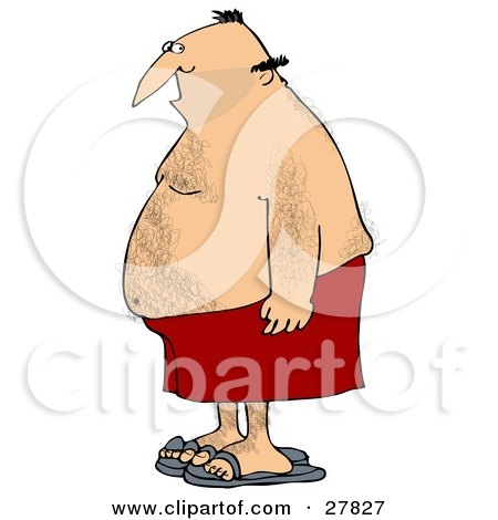Clipart Illustration of a Chubby Hairy White Man In Profile, Wearing Red Shorts And Blue Sandals by djart