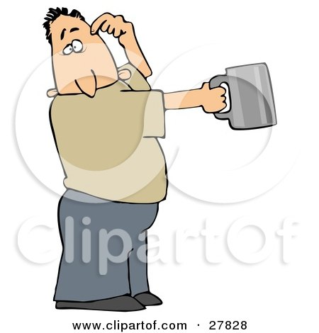 Clipart Illustration of a White Man Scratching His Head And Holding Out A Tin Cup, Hoping For Financial Assistance And Loans by djart