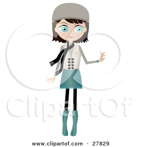 Clipart Illustration of a Black Haired, Blue Eyed Caucasian Woman Dressed In Blue And Beige, Wearing A Hat And Scarf, Standing And Holding One Arm Out by Melisende Vector