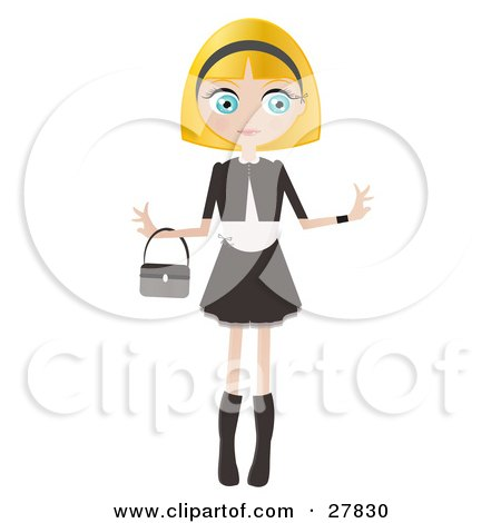 Clipart Illustration of a Blond Haired, Blue Eyed Caucasian Woman Dressed In Black And White, Standing With Her Arms Out And A Purse Draped On Her Wrist by Melisende Vector