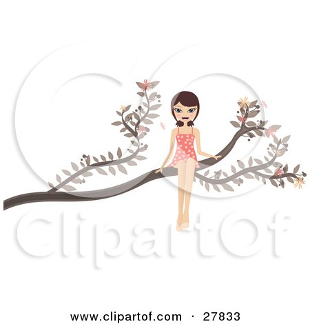 Clipart Illustration of a Happy Brunette Caucasian Woman In A Pink Polka Dot Dress, Sitting Out On A Tree Branch by Melisende Vector
