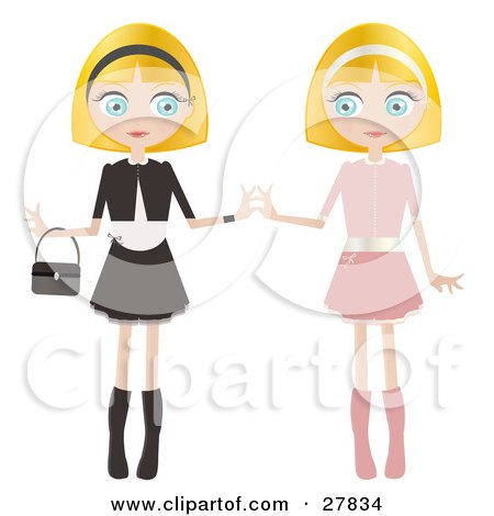 Clipart Illustration of Two Blond Haired, Blue Eyed Caucasian Women, Twins, Dressed In Pink And Black And White, Standing Side By Side And Touching Hands by Melisende Vector