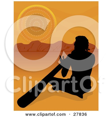 Silhouetted Aboriginal Man Sitting In The Sand And Playing The Didgeridoo In The Australian Outback Posters, Art Prints