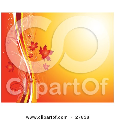 Clipart Illustration of a Gradient Yellow To Orange Background With Red Autumn Maple Leaves With White, Red And Yellow Lines by KJ Pargeter