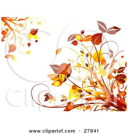 Clipart Illustration of Orange And Yellow Autumn Leaves And Plants In The Upper Left And Lower Right Corners Of A White Background by KJ Pargeter
