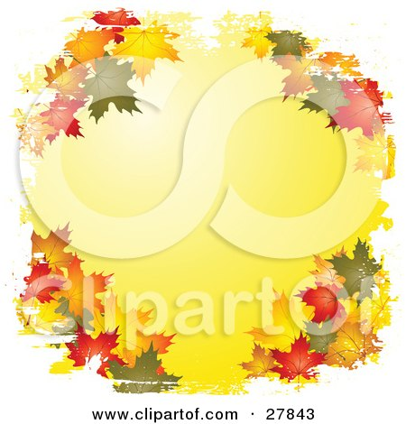 Clipart Illustration of Green, Orange, Brown, Red And Yellow Autumn Maple Leaves Framing A White Background, Bordered By White Grunge by KJ Pargeter