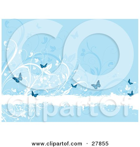 White Grunge Text Bar Bordered With White And Blue Flowers And Butterflies Posters, Art Prints