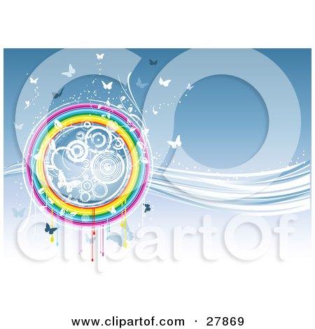 White And Blue Butterflies And Circles In A Round Rainbow On A Wave Of Blue And White Light Posters, Art Prints