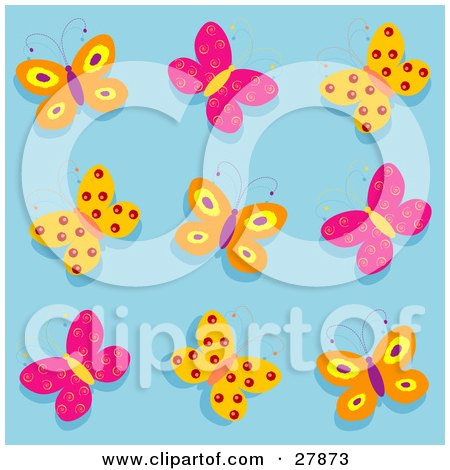 Clipart Illustration of a Group Of Orange, Purple And Pink Butterflies Over A Blue Background by KJ Pargeter