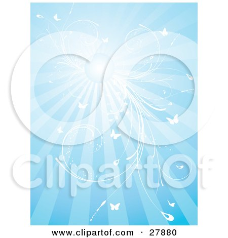 Clipart Illustration of a Blue Background With Bursts Of Sunlight From The Sun, White Vines And Butterflies by KJ Pargeter