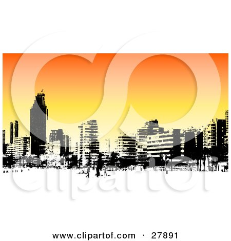 Clipart Illustration of a Skyline Of Benidorm Buildings In Black And White, Over An Orange Background by KJ Pargeter