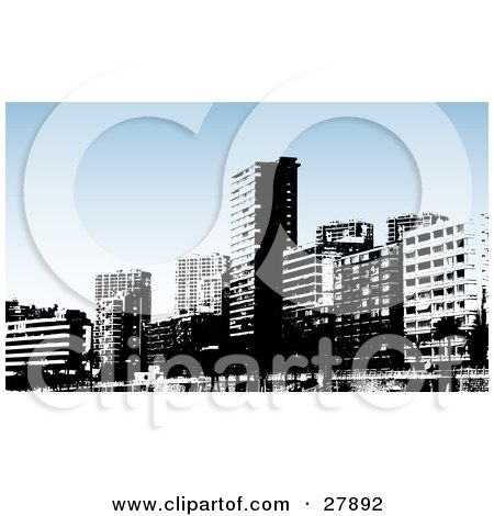 Clipart Illustration of Black And White Benidorm City Skyscraper Buildings With A Blue Background by KJ Pargeter