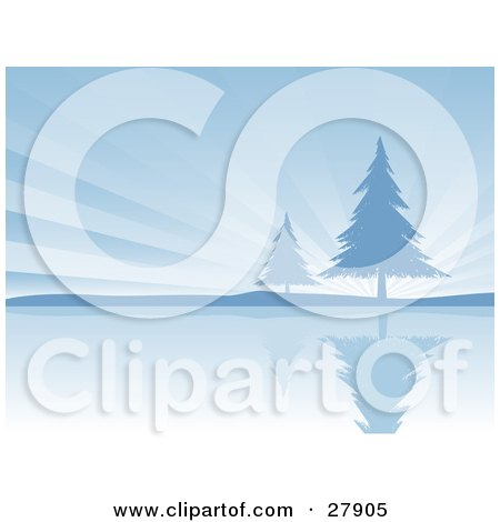 Clipart Illustration of Two Evergreen Trees On The Shore Of A Still Lake, Silhouetted Against A Bursting Blue Sky by KJ Pargeter