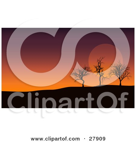 Clipart Illustration of Three Silhouetted Bare Trees On A Hill, Against A Purple And Orange Sunset Sky by KJ Pargeter