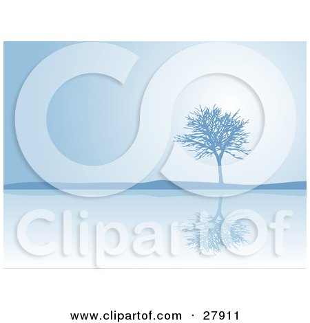 Clipart Illustration of a Bare Tree Reflecting On Calm Waters On A Blue Foggy Day by KJ Pargeter