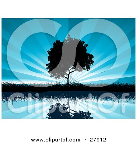 Clipart Illustration of a Tree And Grasses Reflecting In Calm Blue Waters And Silhouetted Against A Bursting Sky Background by KJ Pargeter