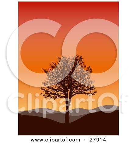 Clipart Illustration of a Silhouetted Bare Tree On A Hill, With Rolling Hills In The Background, Under A Gradient Sunset Sky by KJ Pargeter