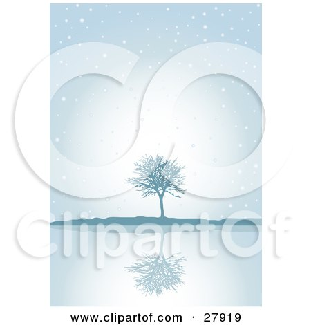 Clipart Illustration of a Lone Bare Tree Reflecting On Still Waters On A Blue, Snowy, Foggy, Winter Day by KJ Pargeter