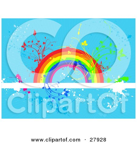 Plants Sprouting From A Colorful Rainbow On A White Text Bar Over A Blue Grunge Background Posters, Art Prints