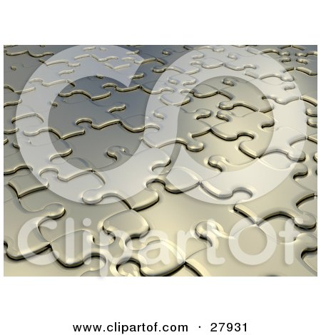 Clipart Illustration of a Background Of Raised And Lowered Silver Jigsaw Puzzle Pieces In Pale Gold Tones by KJ Pargeter
