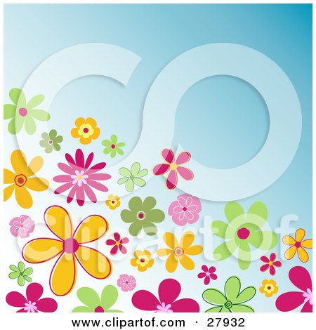 Clipart Illustration of a Corner Of Colorful Green, Orange And Pink Flowers Over A Blue Background by KJ Pargeter