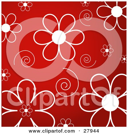 Clipart Illustration of White Daisy Flowers And Swirls Over A Red Background by KJ Pargeter
