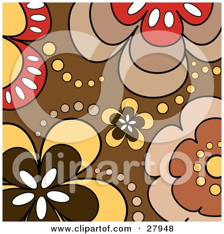 Clipart Illustration of a Background Of White, Red, Yellow And Brown Flowers And Dots by KJ Pargeter