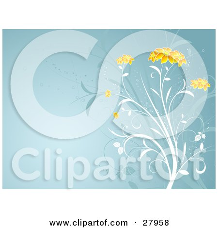 Clipart Illustration of a White Plant With Beautiful Orange Flower Heads Over A Blue Background With Faded Plants by KJ Pargeter