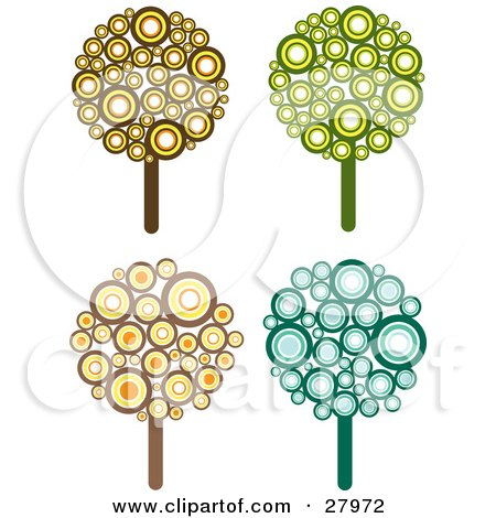 Clipart Illustration of a Set Of Four Retro Styled Trees Made Of Brown, Yellow, Orange, Green And Blue Circles by KJ Pargeter