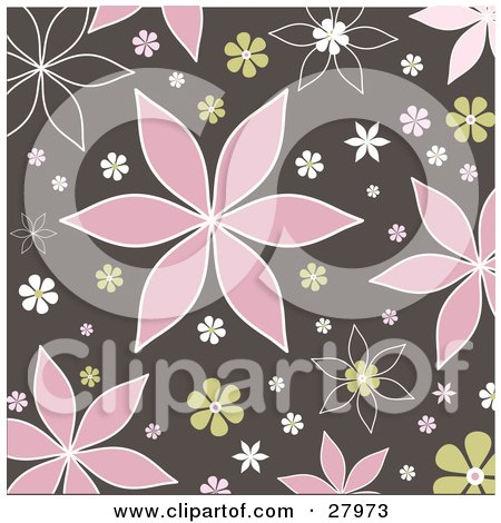 Brown Background With Pink, Green And White Flowers Posters, Art Prints