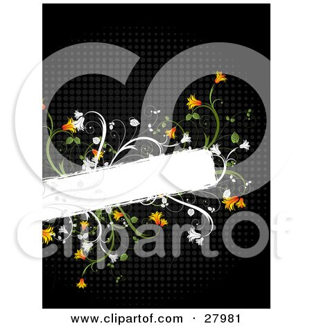 Blank White Text Box Bordered By Orange Flowers And Green Vines Over A Black Grid Background Posters, Art Prints