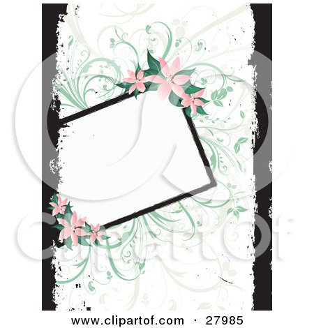 Clipart Illustration of a Blank White Text Box Bordered By Green Vines And Pink Lilies Over A White Background With Black Grunge. by KJ Pargeter