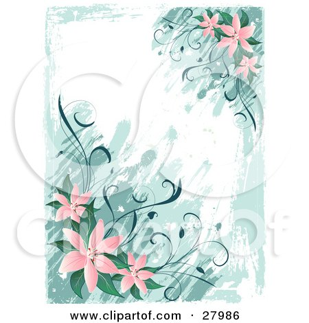 Clipart Illustration of a Vertical Background Of Pink Lily Flowers And Green Leaves Over Paint Strokes On A White Background by KJ Pargeter