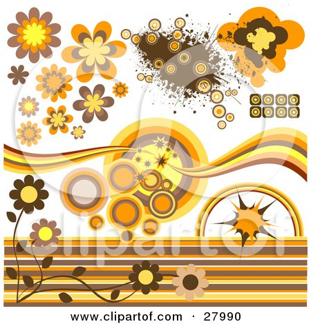 Clipart Illustration of a Group Of Circular, Flower And Grunge Design Elements In Brown, Orange And Yellow Tones by KJ Pargeter