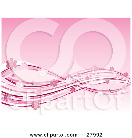 Gradient Pink Background With White And Pink Waves Of Lines And Sparkling Flowers Posters, Art Prints