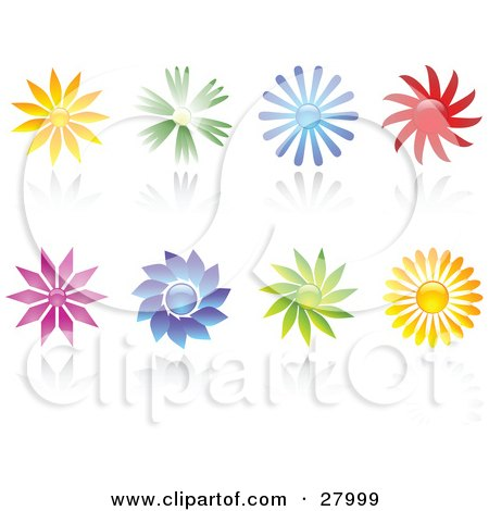Clipart Illustration of a Set Of Orange, Green, Blue, Red, Purple And Yellow Flowers With Reflections On A White Background by KJ Pargeter