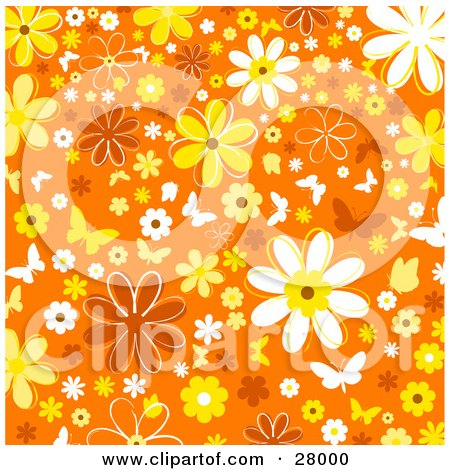 Clipart Illustration of a White And Yellow Butterflies And Flowers Over An Orange Background by KJ Pargeter