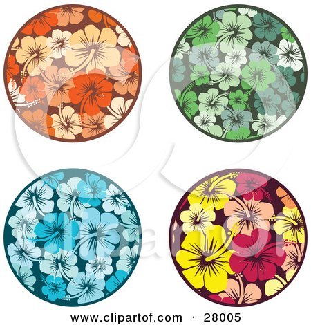 Clipart Illustration of a Set Of Orange, Green, Blue, Yellow And Pink Circular Hibiscus Flower Design Elements by KJ Pargeter