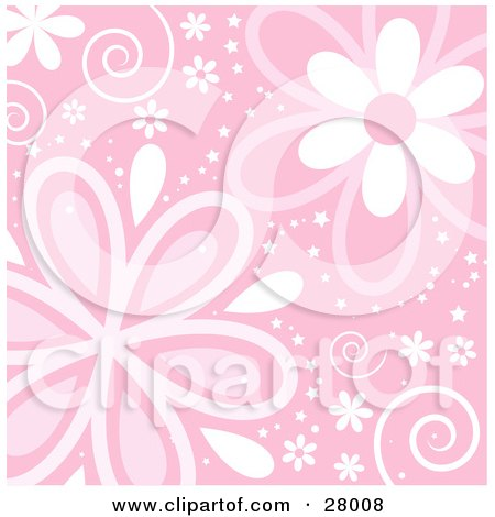 ������ �����- ����� ������- ������ 28008-Clipart-Illustration-Of-A-Pink-Background-With-Swirls-Stars-And-Pink-And-White-Flowers.jpg