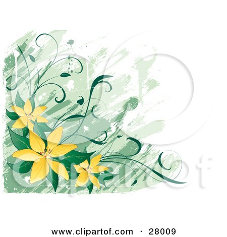 Clipart Illustration of a White And Green Background With Yellow Lily Flowers And Green Leaves In The Lower Left Corner by KJ Pargeter
