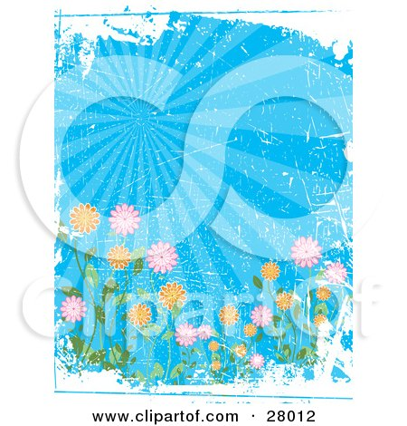 Clipart Illustration of a Colorful Garden Of Flowers Under Rays Of Light In A Blue Sky, With White Grunge And Scratch Texture by KJ Pargeter