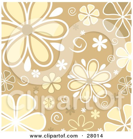 Clipart Illustration of White, Yellow And Brown Daisy Flowers And Swirls Over A Beige Background by KJ Pargeter