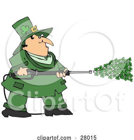 Clipart Illustration Of A Chubby Leprechaun In Green Spraying Clovers From A Power Washer On St Patricks Day